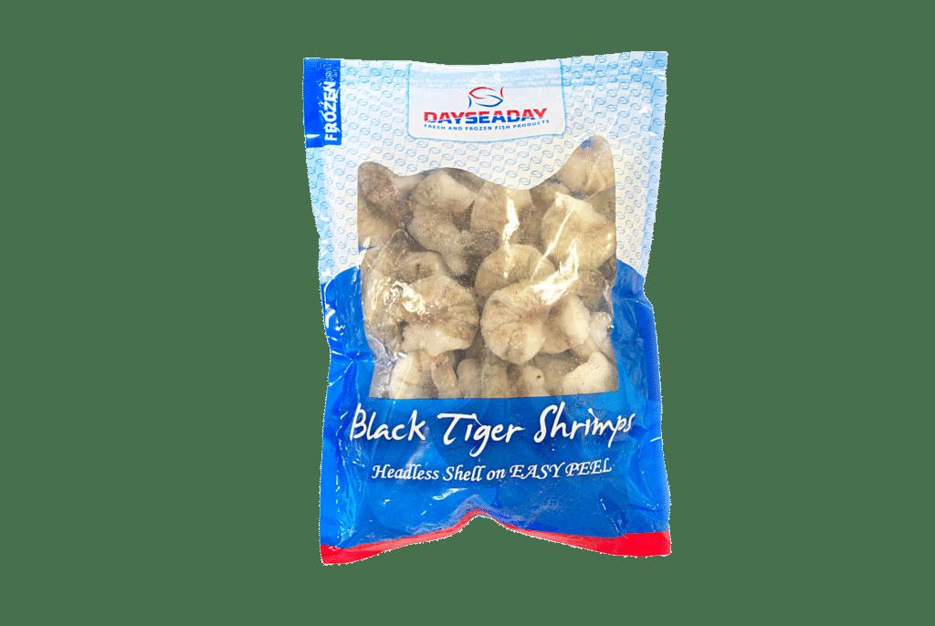 Black tiger garnalen zonder kop met schaal